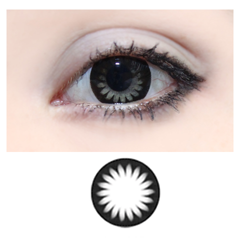 Magic Circle Flower -musta -v�rilliset Piilolinssit -1 Vuosi -pari!!