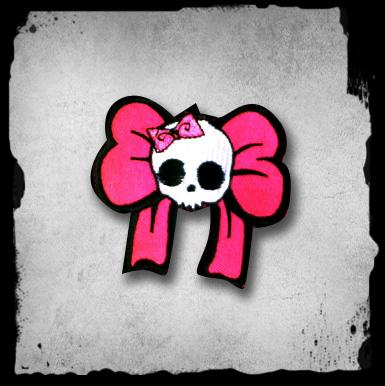 Patch -cute Skull With Pink Bows Kangasmerkki