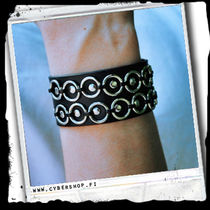 Leather Bracelet -2rows of rings