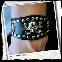Leather Bracelet -Skull and stars