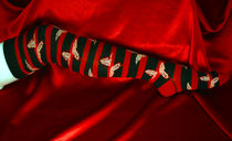 Over knee socks -Butterfly stripes -Red