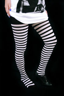 Stockings w/ Stripes -Black/white