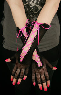 A. Net Gloves w/ Ribbon -Black/pink