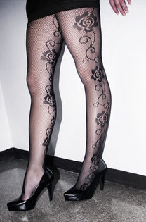 Net Stockings -Roses on Sides -Black