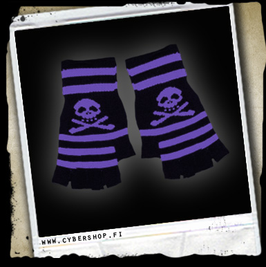 Short Gloves -skull -black/purple Stripes