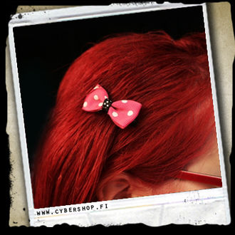 HairClips -Bow w/ large dots -Pink/white