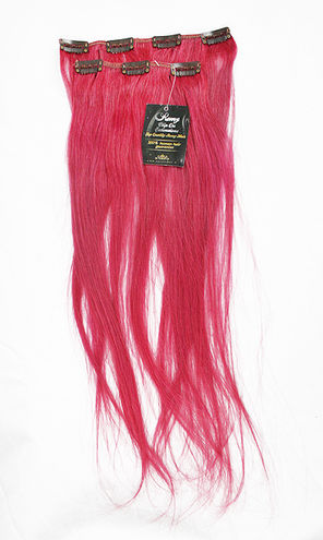"100% Human Hair - Clip on 20"" - Smoky Pink"