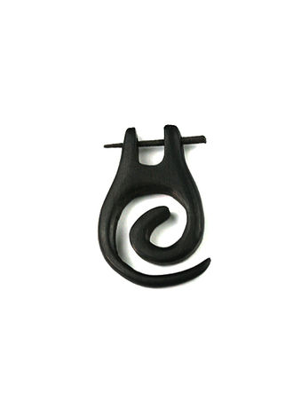 Wood Earring -Hanging Spiral