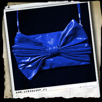 A. Latex HandBag w/bow -Blue
