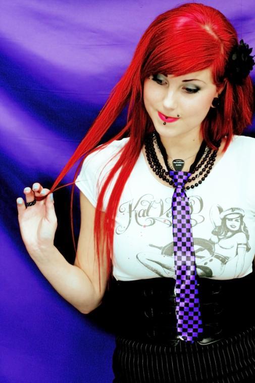 Tie W/ Zipper -checkers -purple/black