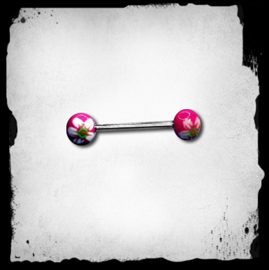 1.6mm Tongue Barbell  -Pink Flowers -Lävistyskoru