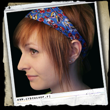 Scrunchy Headband -tattoo -blue