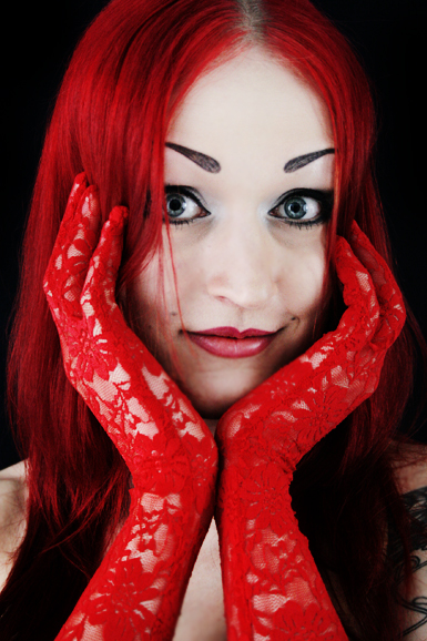 Lace Gloves -red