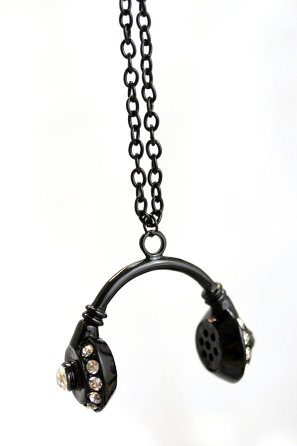 Headphones -kaulakoru -iso Musta