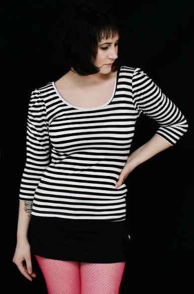Stripes 3/4 -raitapaita -musta/valkoinen