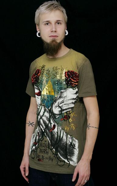 Shiroi Neko Miesten T-paita -crossed Arms -vihre�