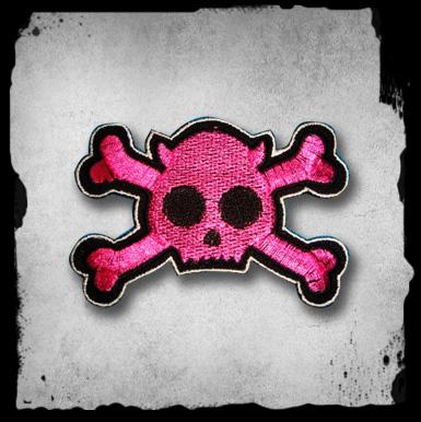 Patch -pink Skull W/ Bones Kangasmerkki