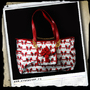 Bag w/ purse -White w/ skulls and bows