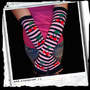 ArmWarmers -Cherries and stripes -Black/pink
