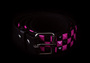 Belt w/ studs -3 row checkers -Pink/black