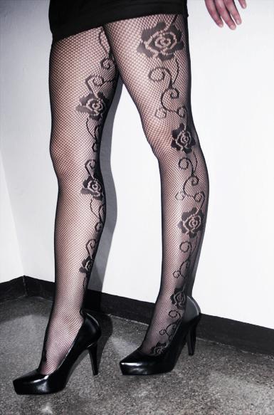 Net Stockings -roses On Sides -black