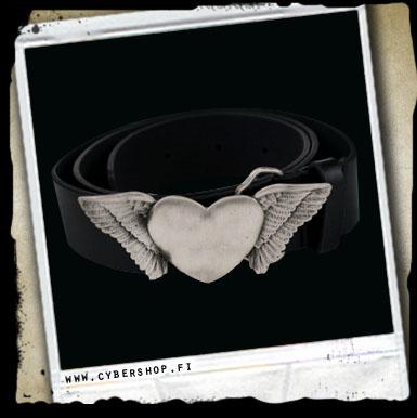 Leather Belt -heart W/ Wings