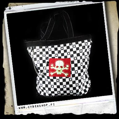Skull Bag -black/white Checkers And Red Skull